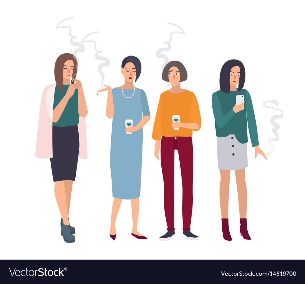 Smoking room girls on smoke break woman with vector image