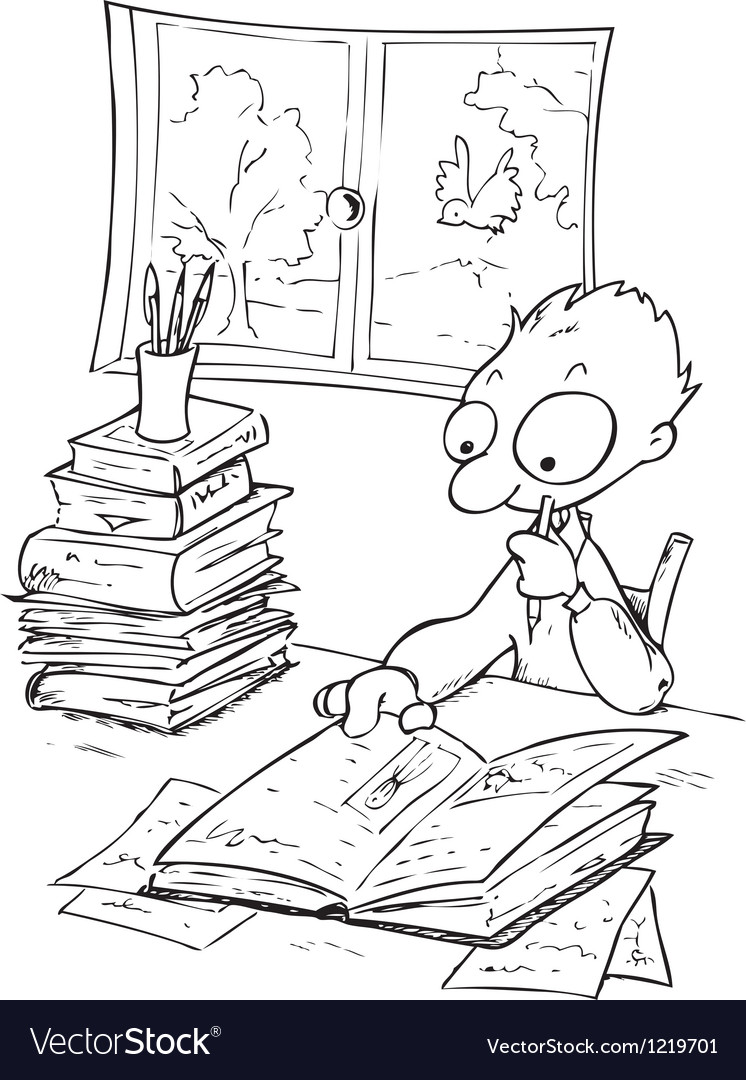 busy boy studying with a lot of books royalty free vector