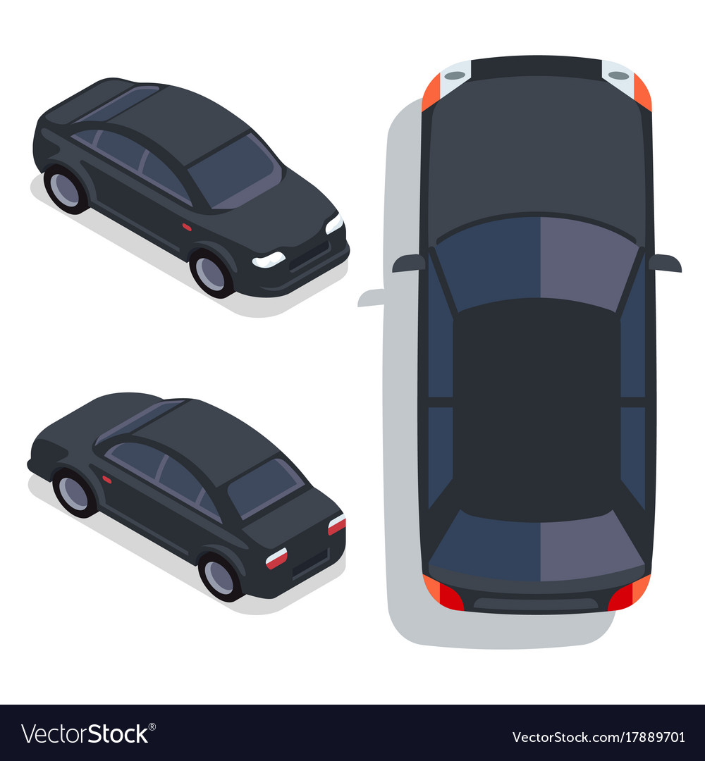 Flat-style cars in different views black vector image