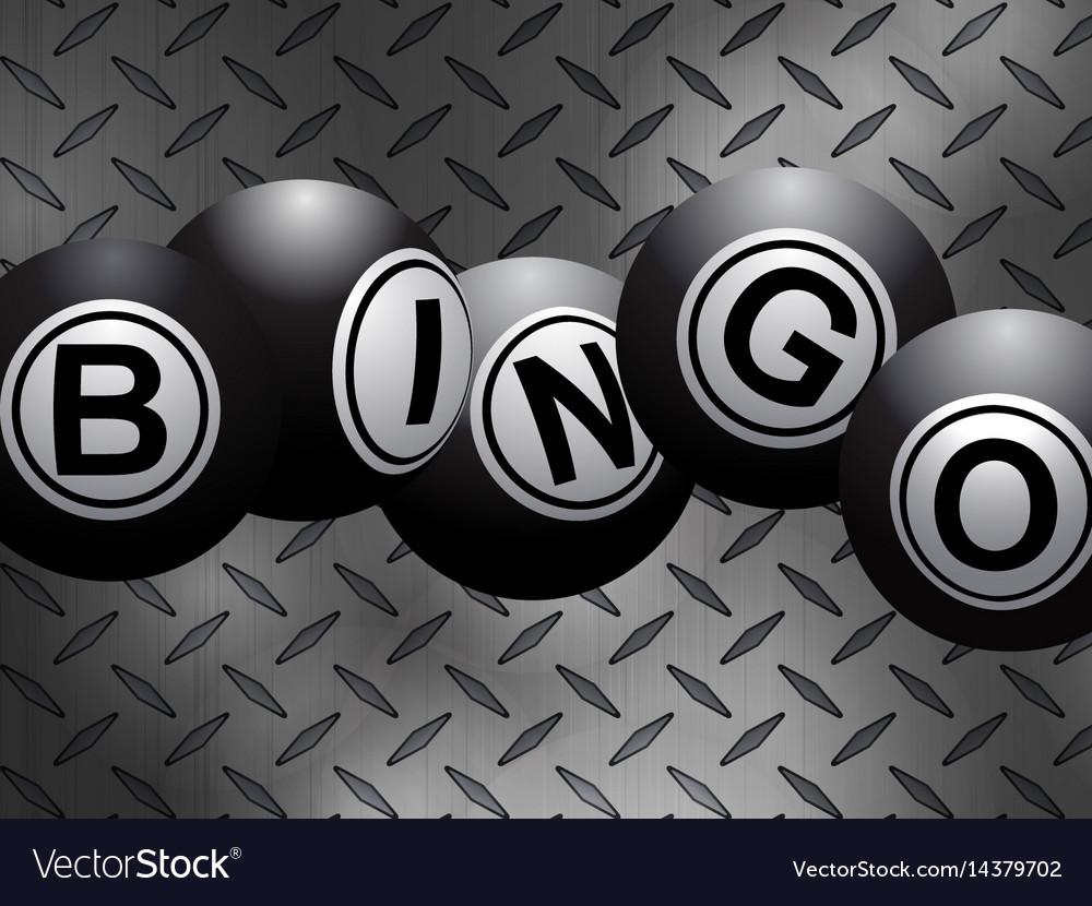 Metallic bingo balls over metal diamond plate vector image