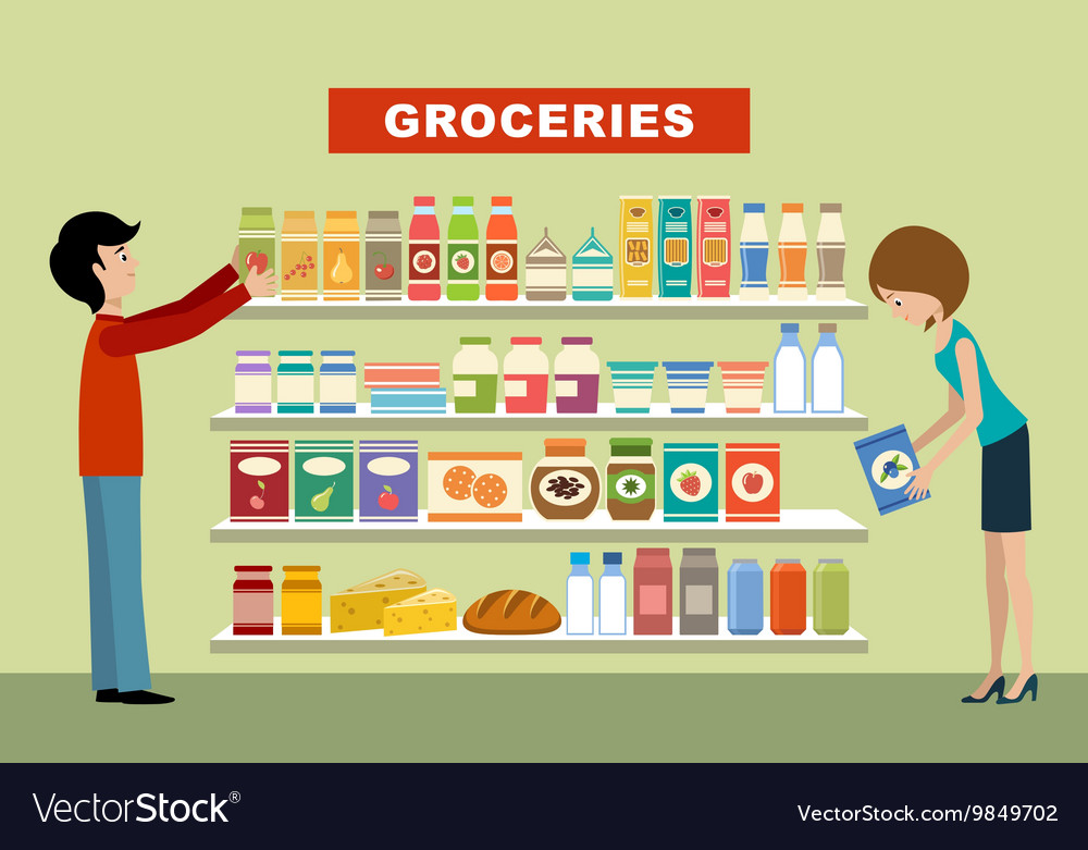 People in a supermarket Groceries vector image