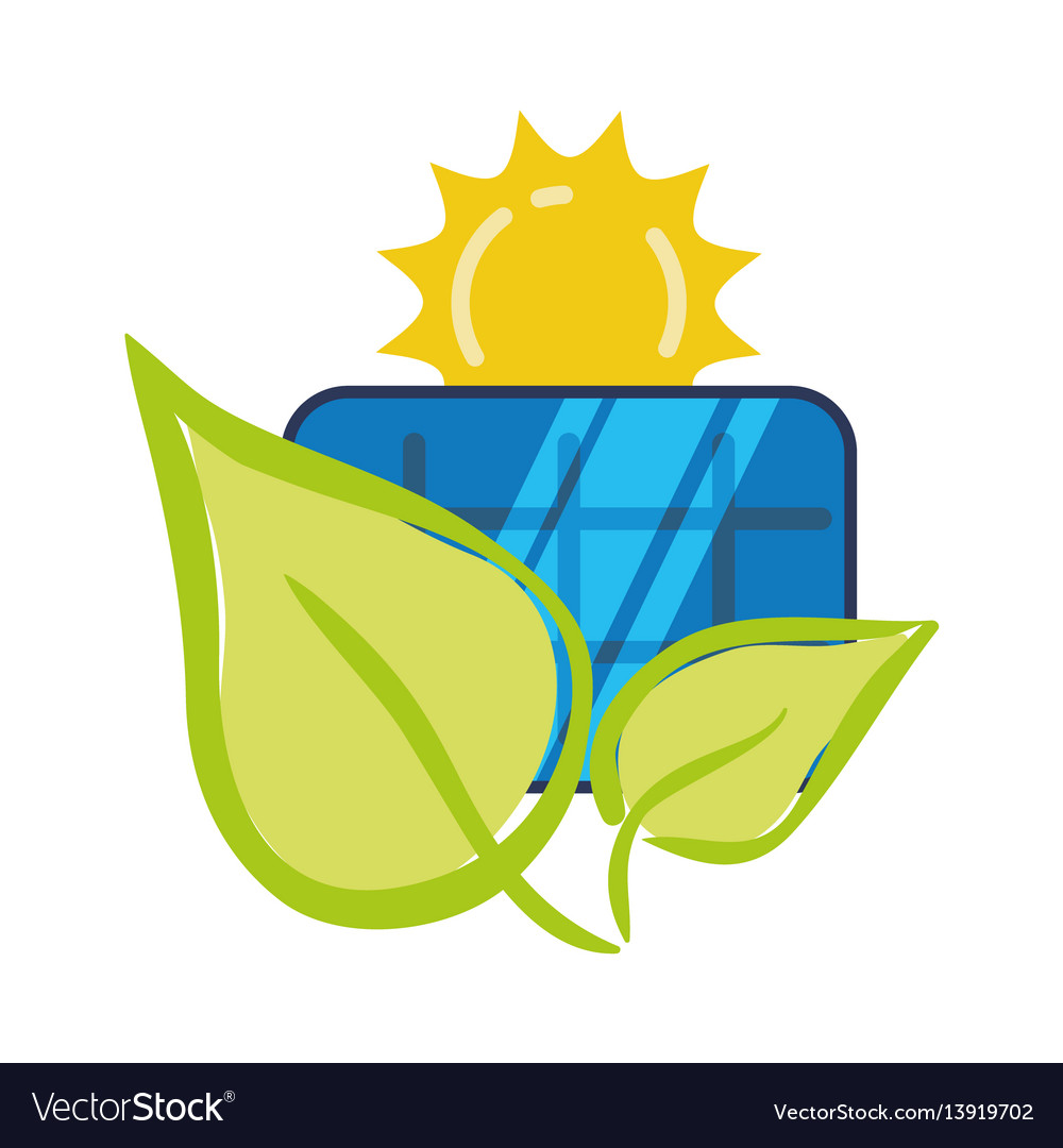 Solar panel ecology environment concept vector image
