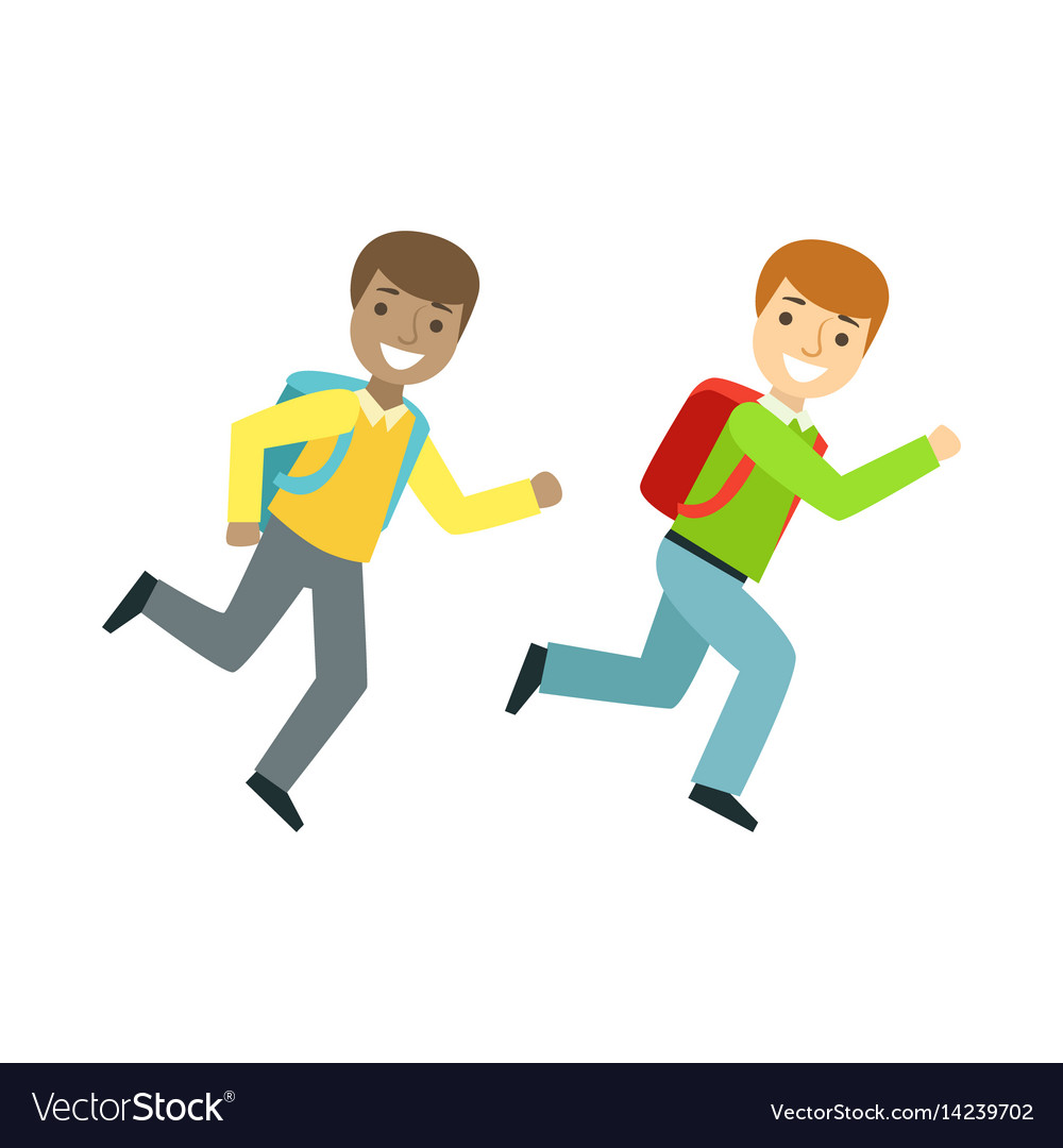 Two boys running to the classroom part of school vector image