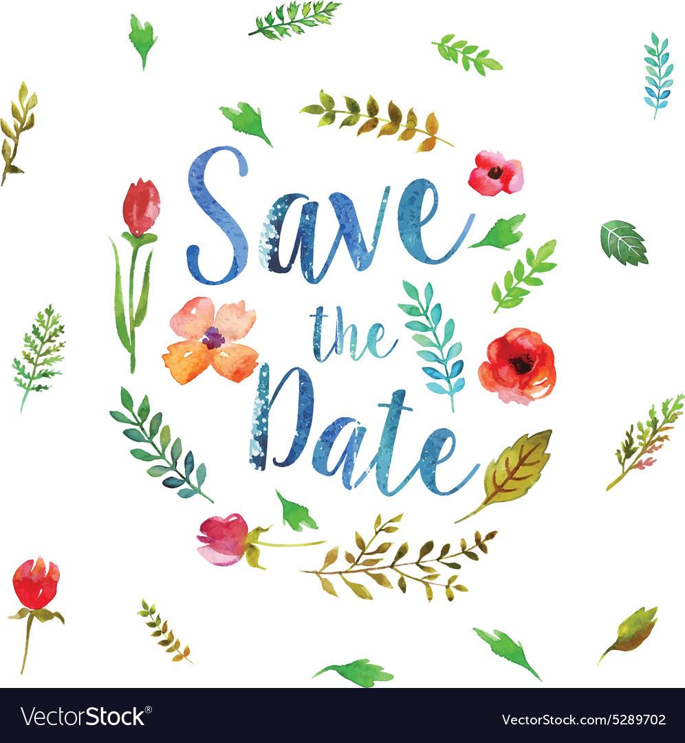 Watercolor leaves wedding invitation vector image