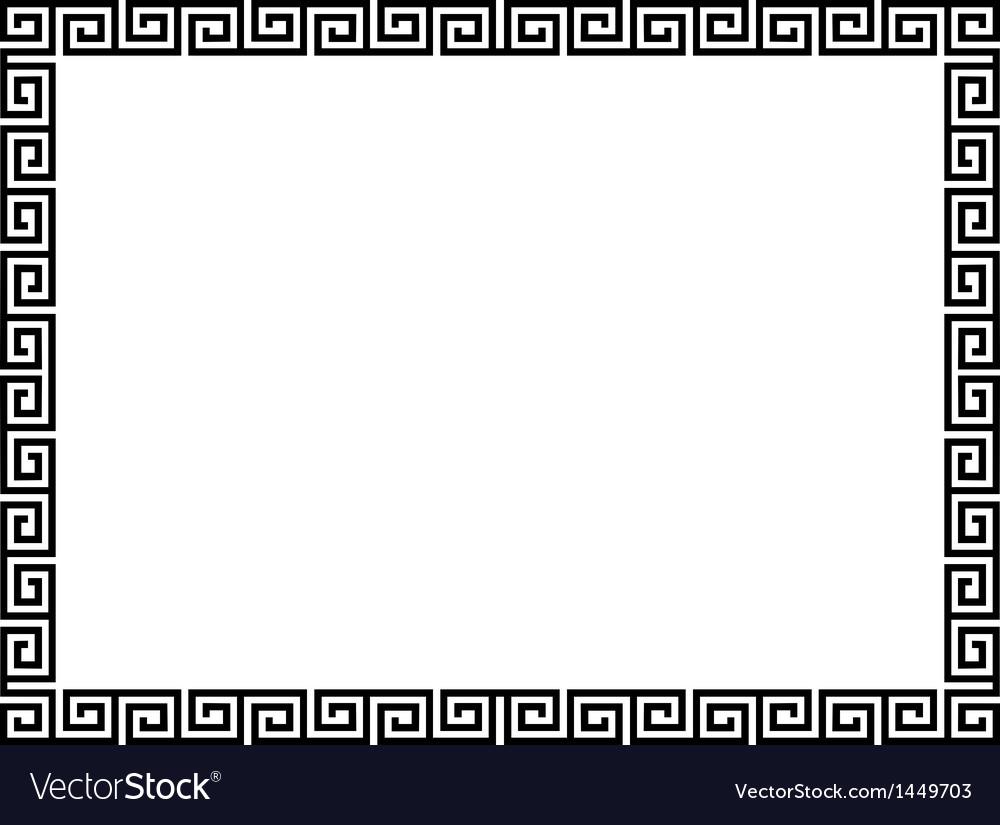 Greek style black ornamental decorative frame vector image jeuxipadfo Choice Image