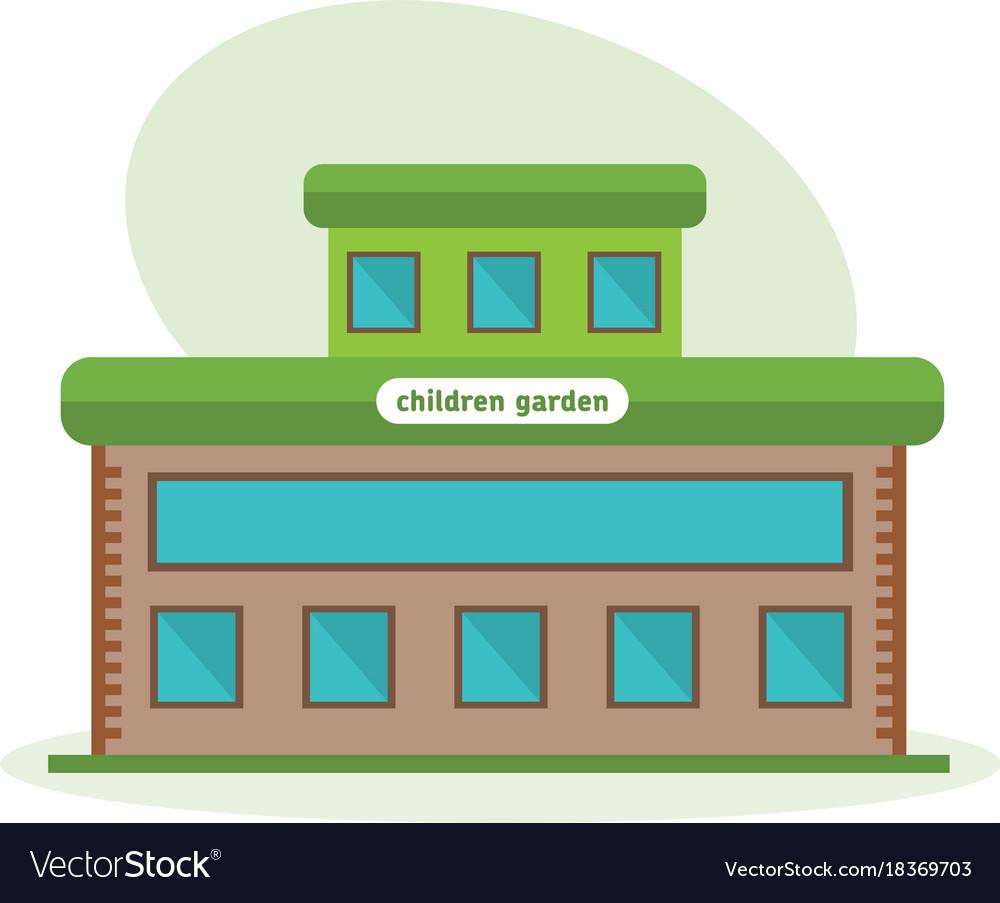 Multi-storey building of children garten vector image