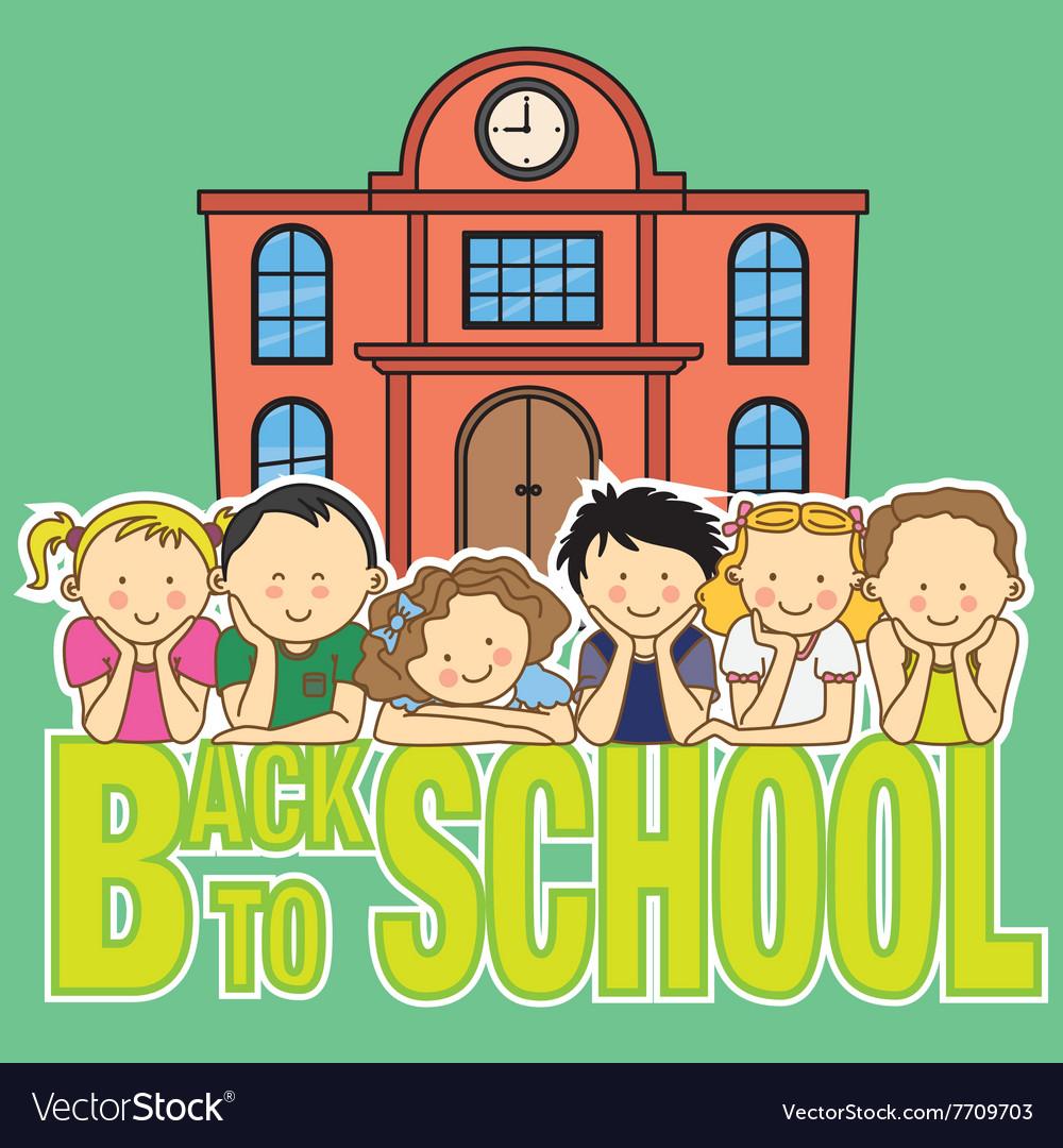 School and children vector image