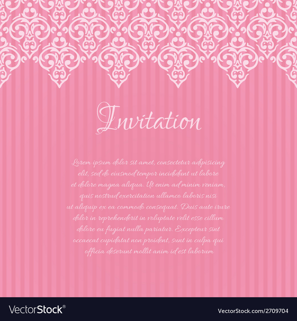 Pink damask invitation blank with a place for your vector image