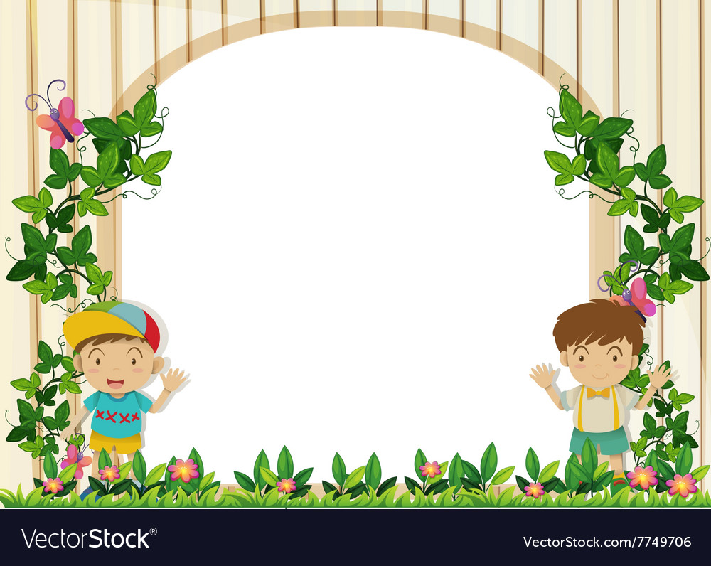 Border design with boys in the garden Royalty Free Vector