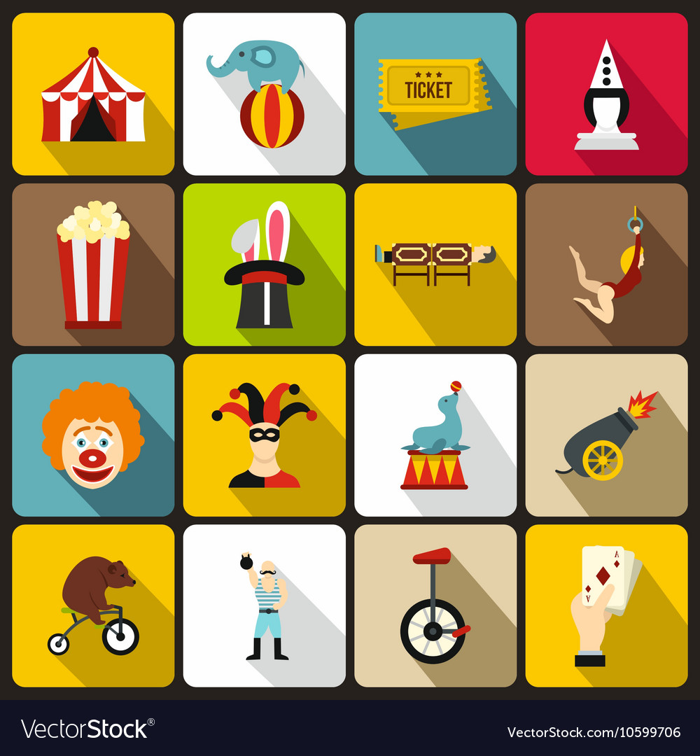Circus entertainment icons set flat style vector image