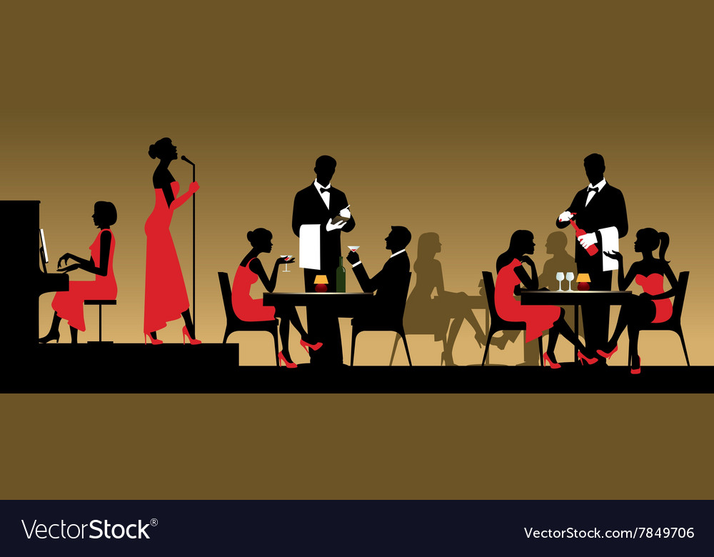 People in night club or restaurant vector image