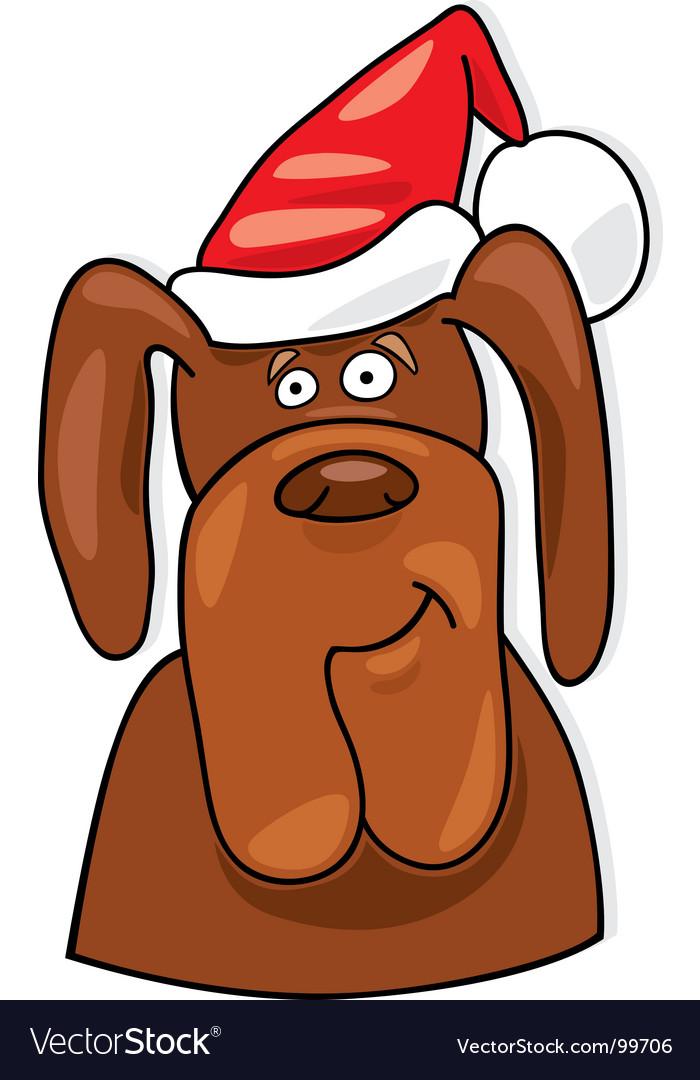 Santa dog vector image