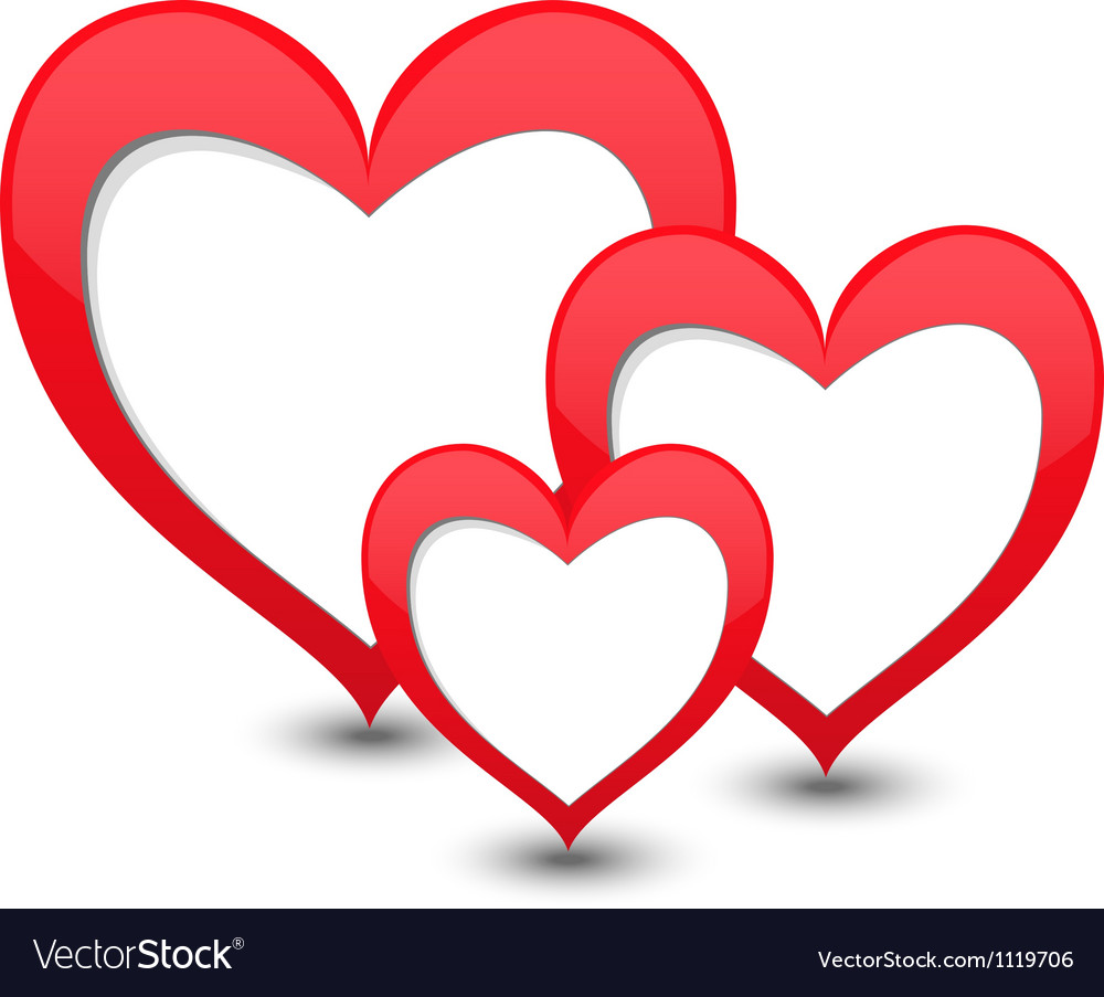 valentines day card with three hearts royalty free vector