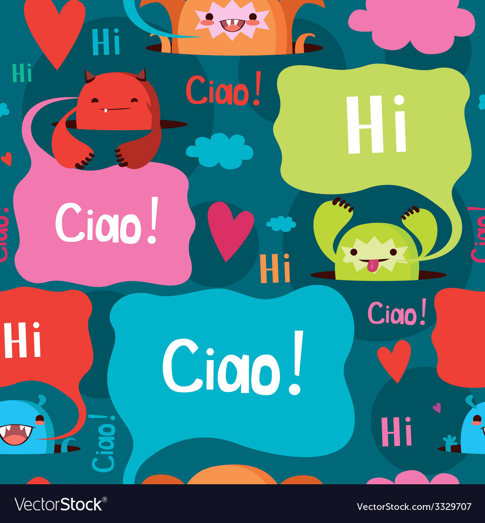 Friendly monsters seamless print vector image
