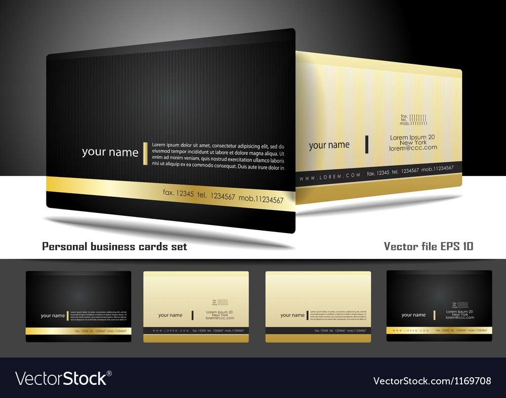 Personal business cards set Vector Image