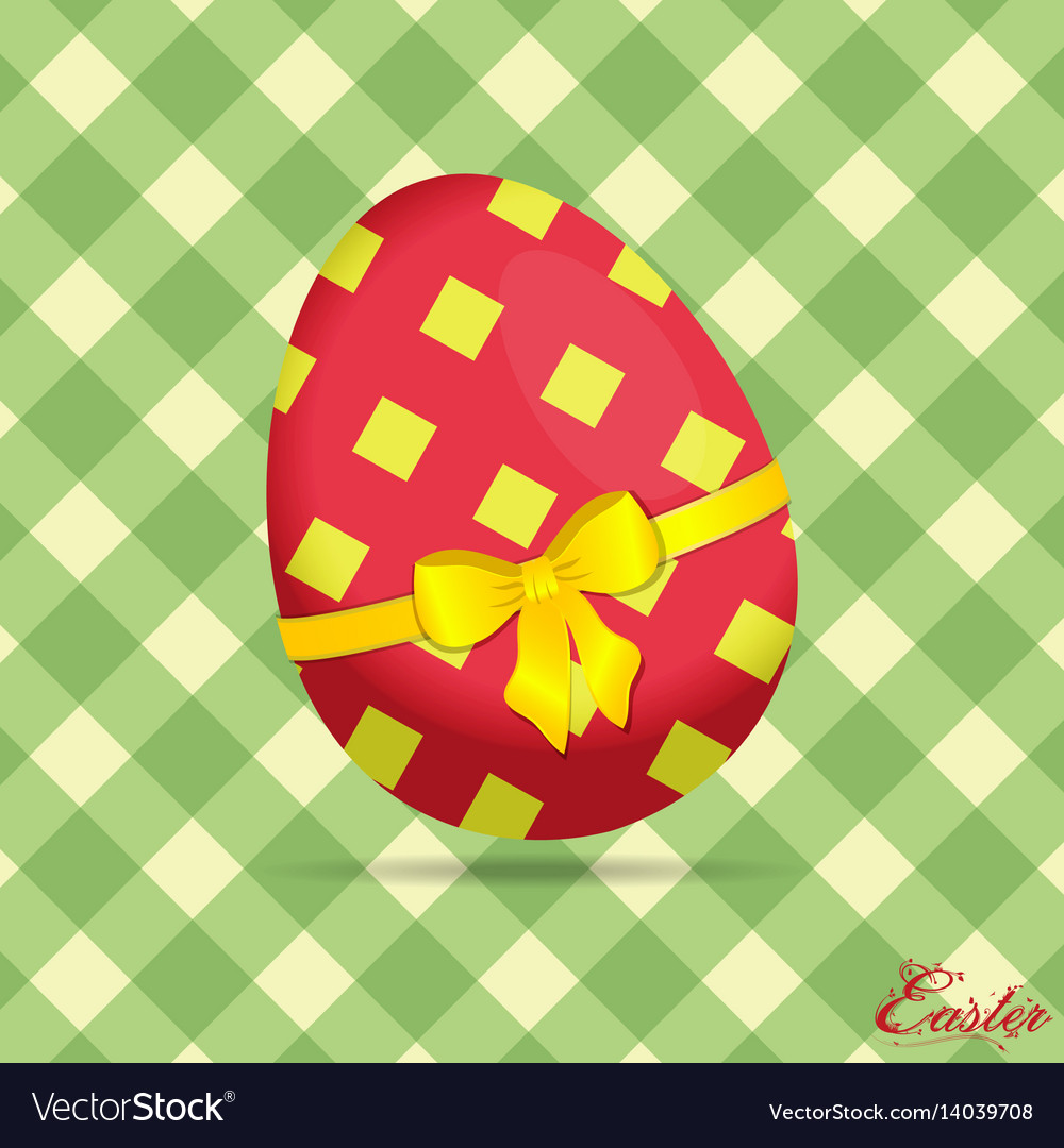 Crossed stripes easter egg on green background vector image
