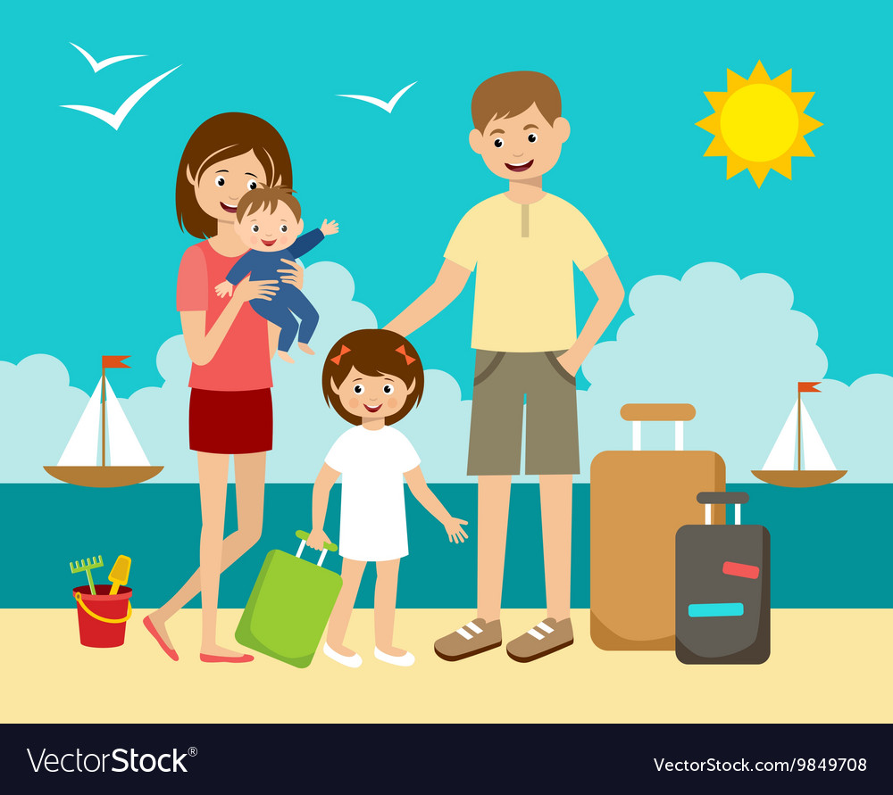 Family on vacation vector image