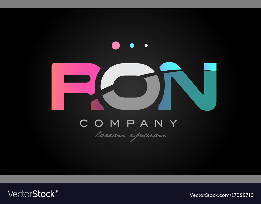 Ron r o n three letter logo icon design vector image
