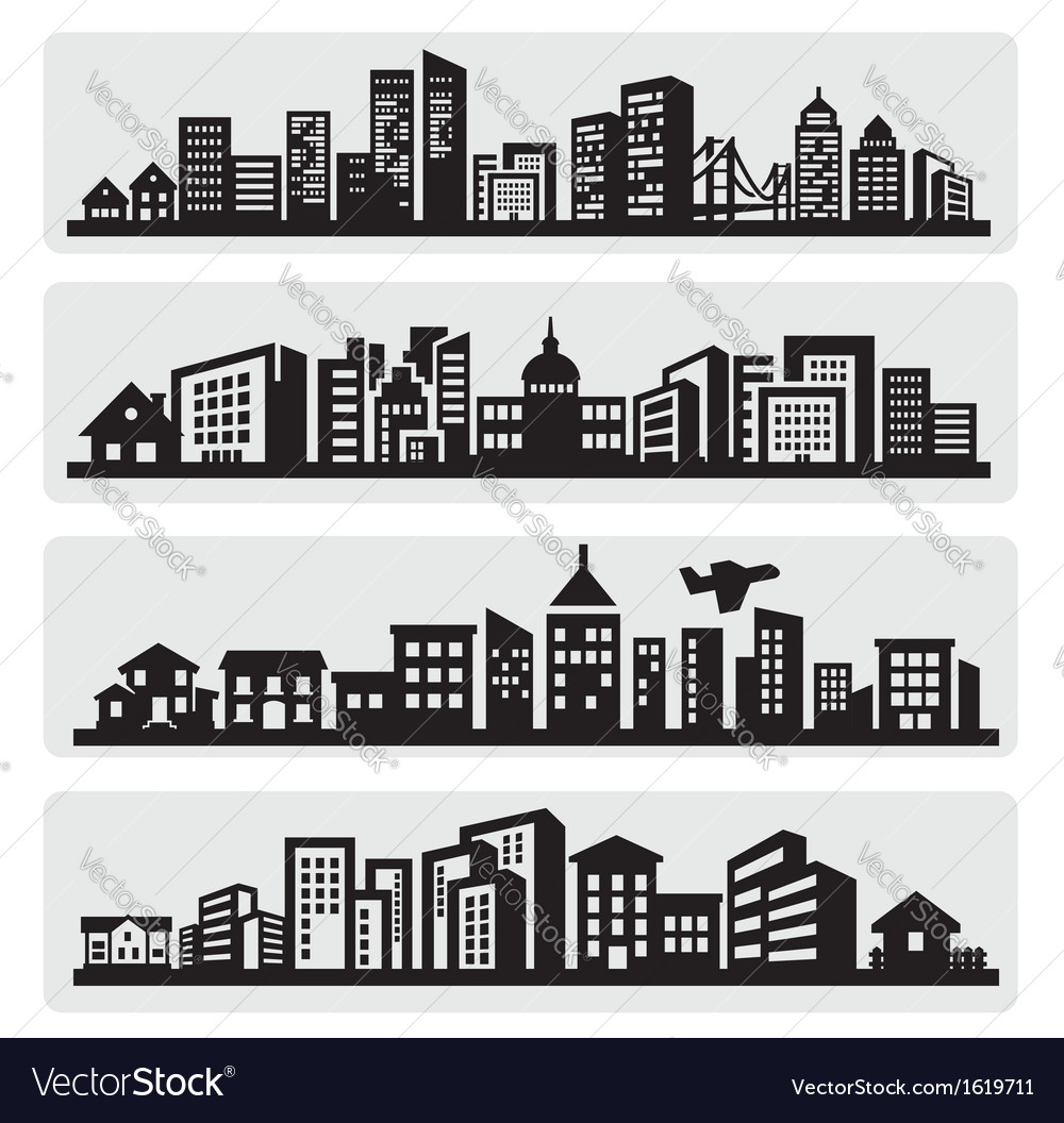 Cities silhouette icon Vector Image