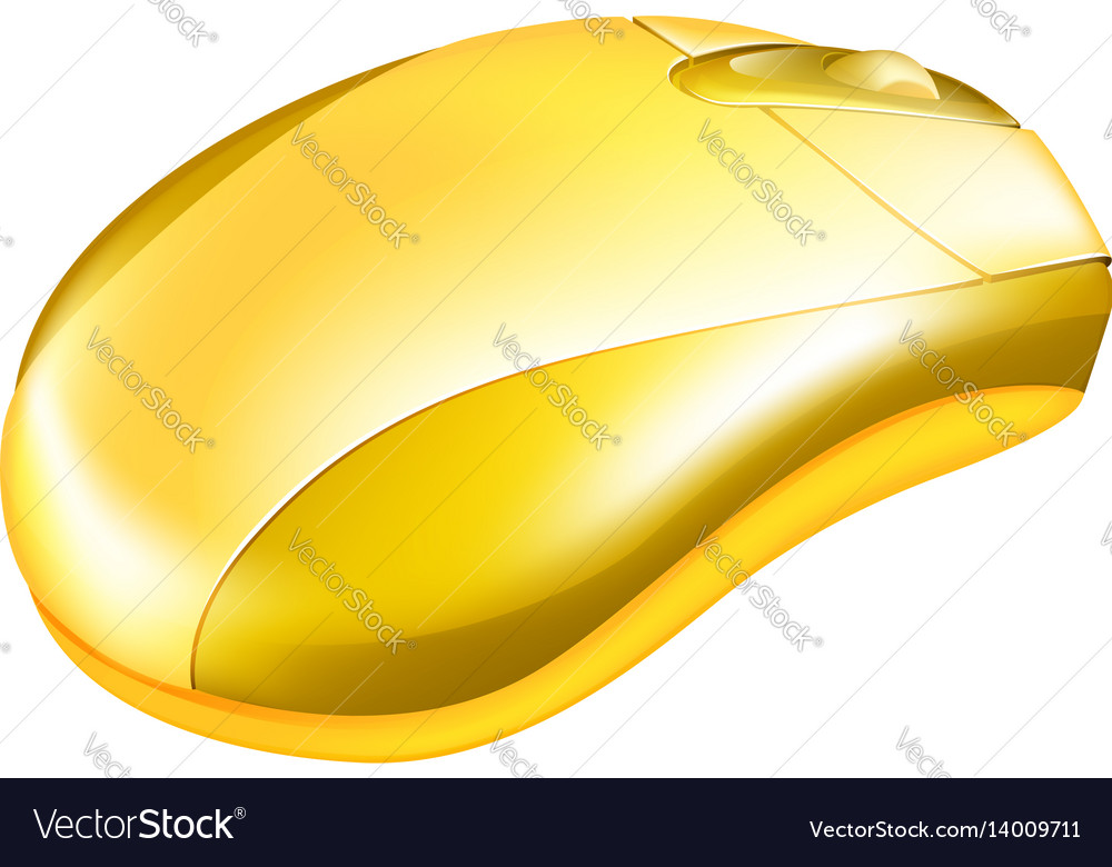Golden computer mouse vector image