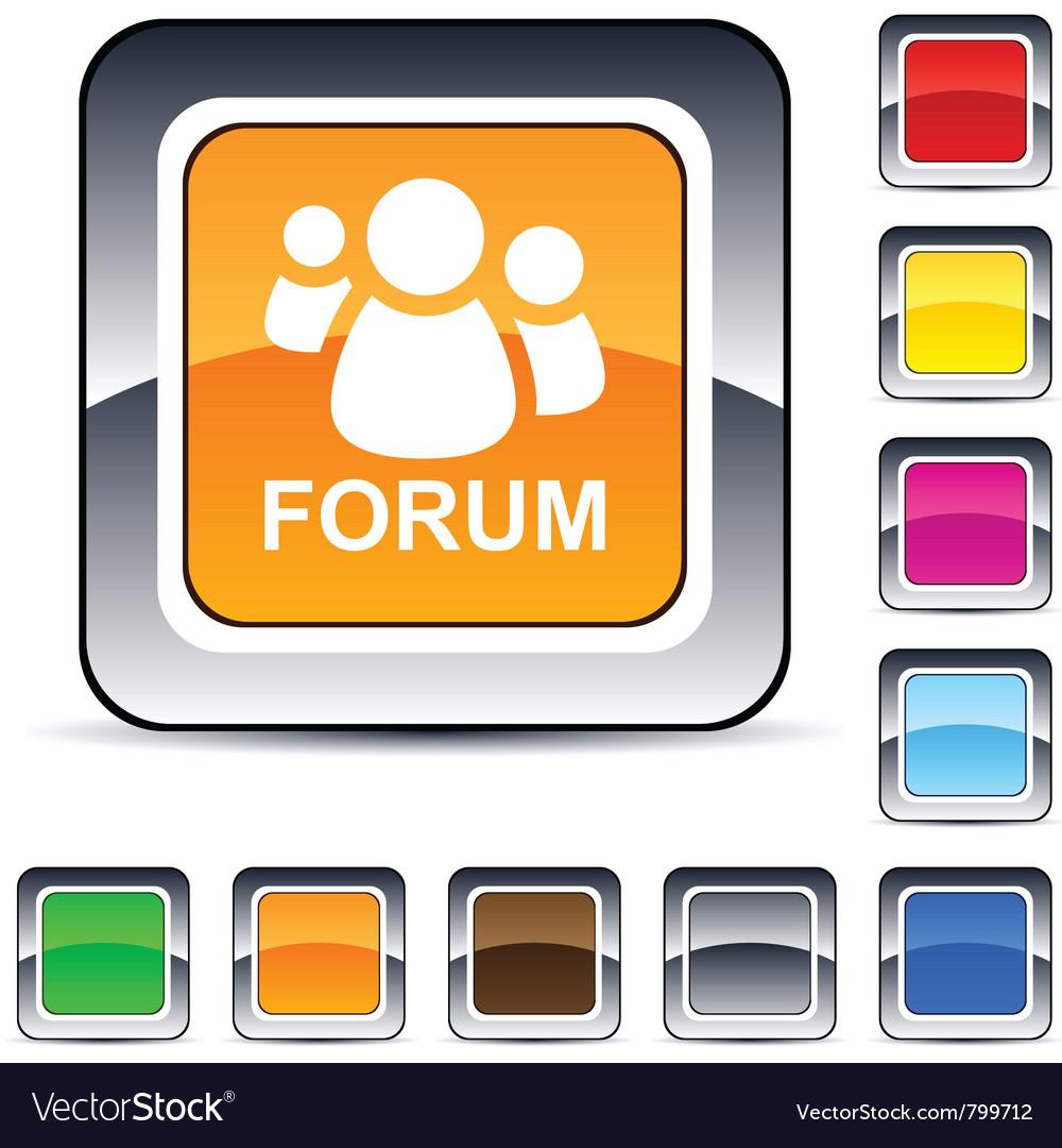 Forum square button vector image