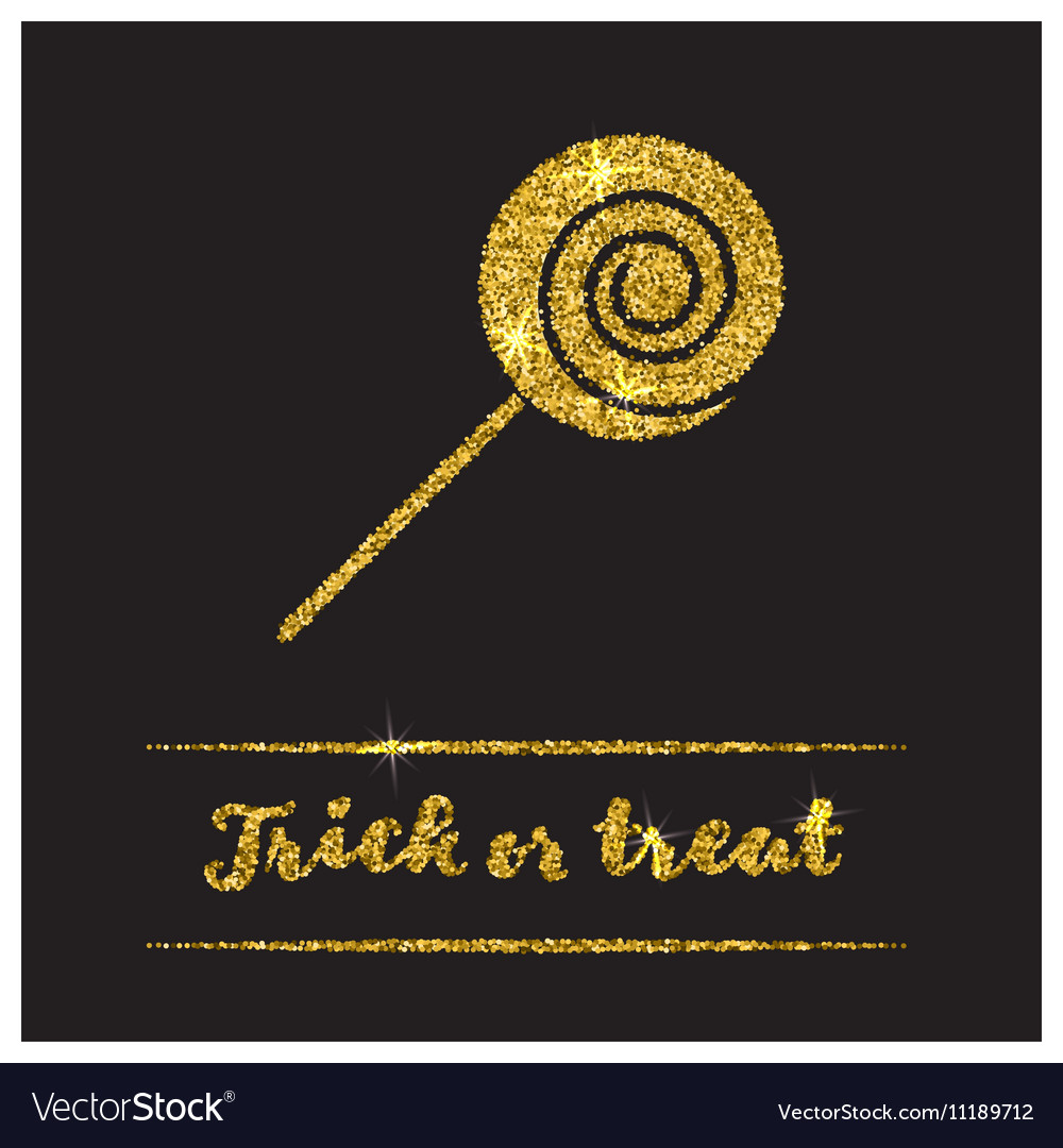 Halloween gold textured candy icon vector image