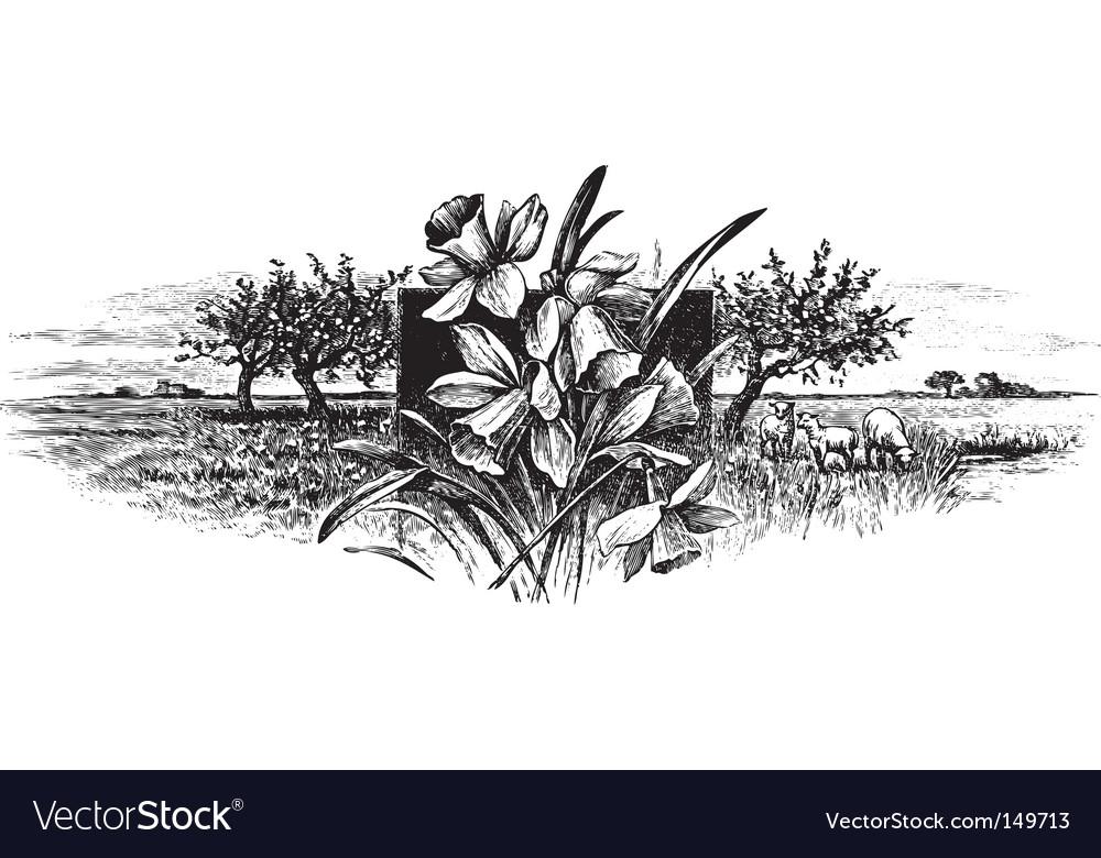 Antique landscape engraving vector image