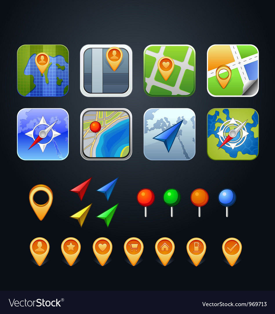 Set of GPS icons with pins and arrows vector image