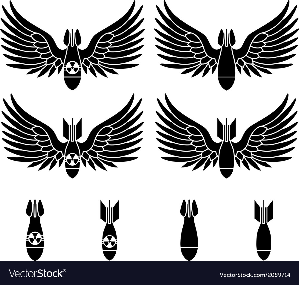 Bombs with wings vector image