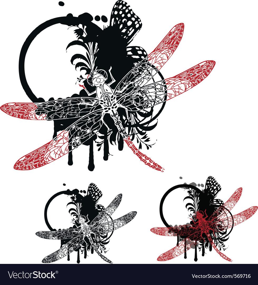 Vintage dragonfy vector image