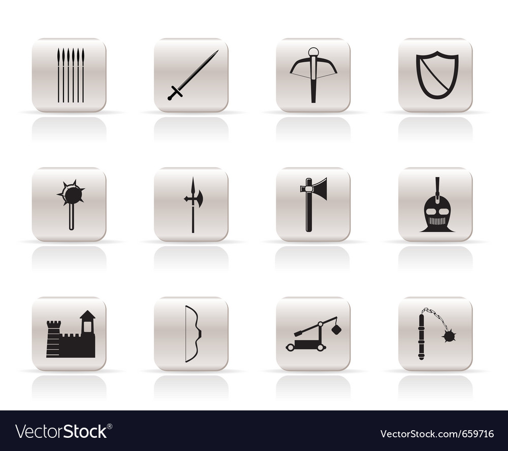 Simple medieval arms and objects icons vector image