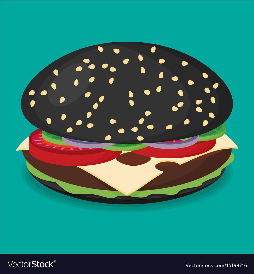 Black Hamburger Flat Design Royalty Free Vector Image - Black hamburger