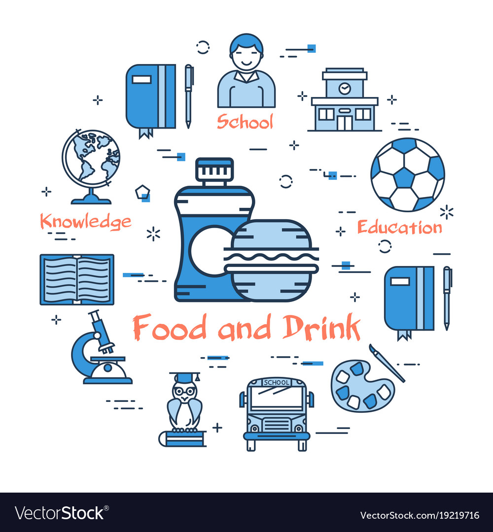 Blue concept with food and drink icon vector image
