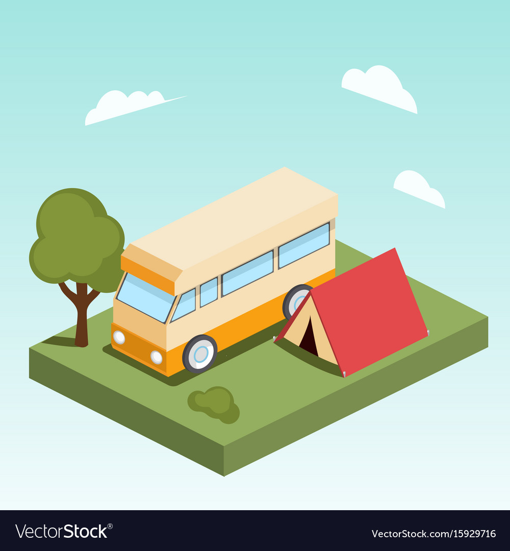 Camping motor home isometric vector image