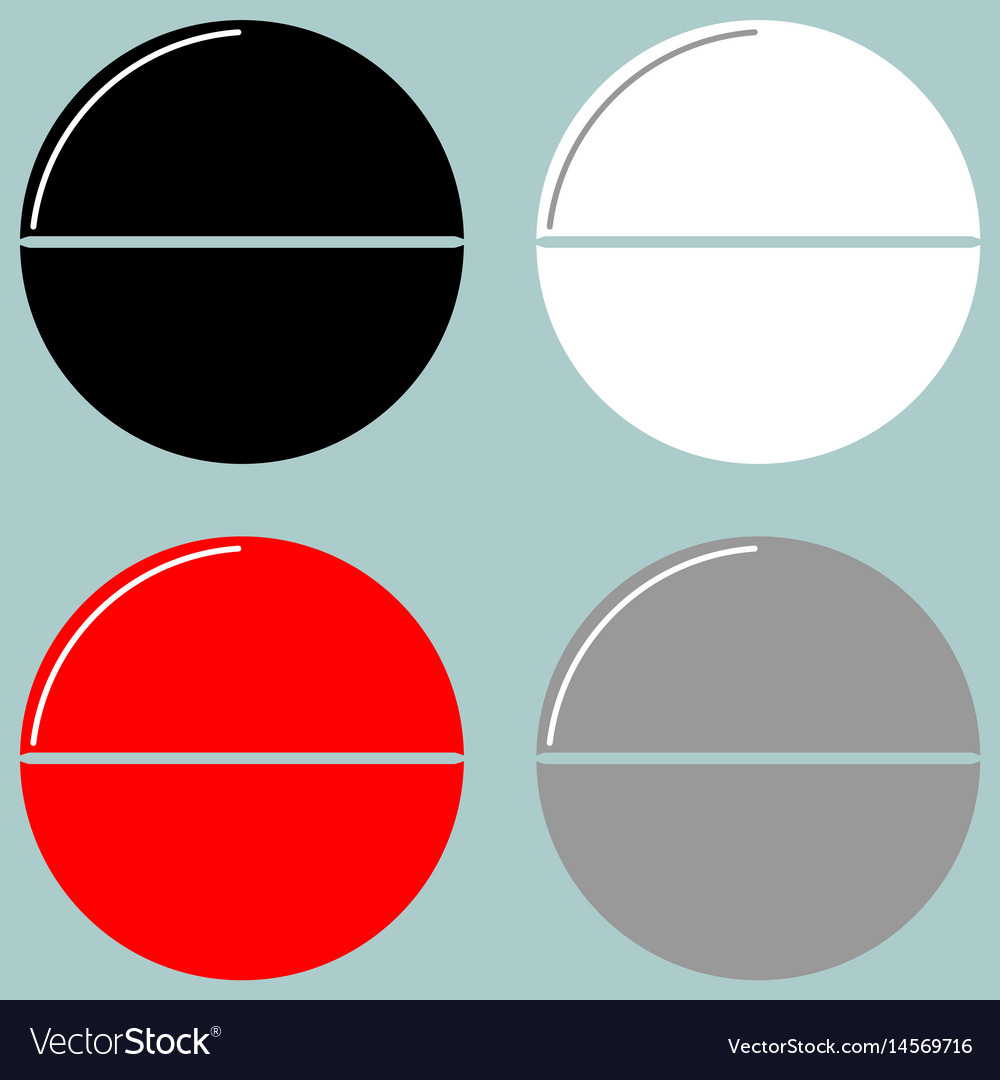 Tablet or pill black white red grey icon vector image