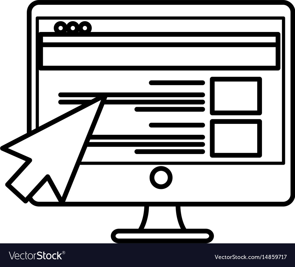 Computer desktop with arrow pointer isolated icon vector image