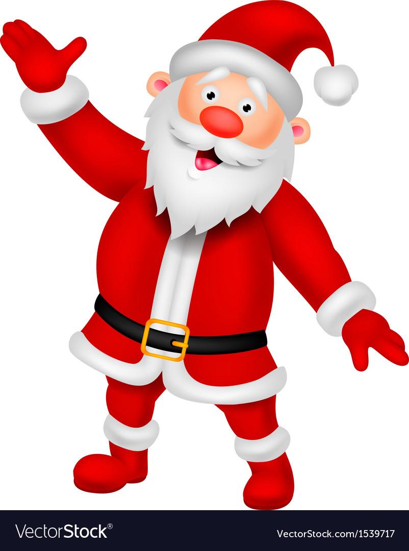 Happy Santa cartoon waving hand vector image