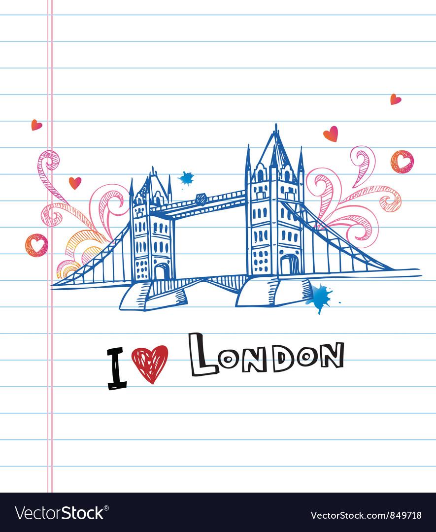 I love London doodles vector image