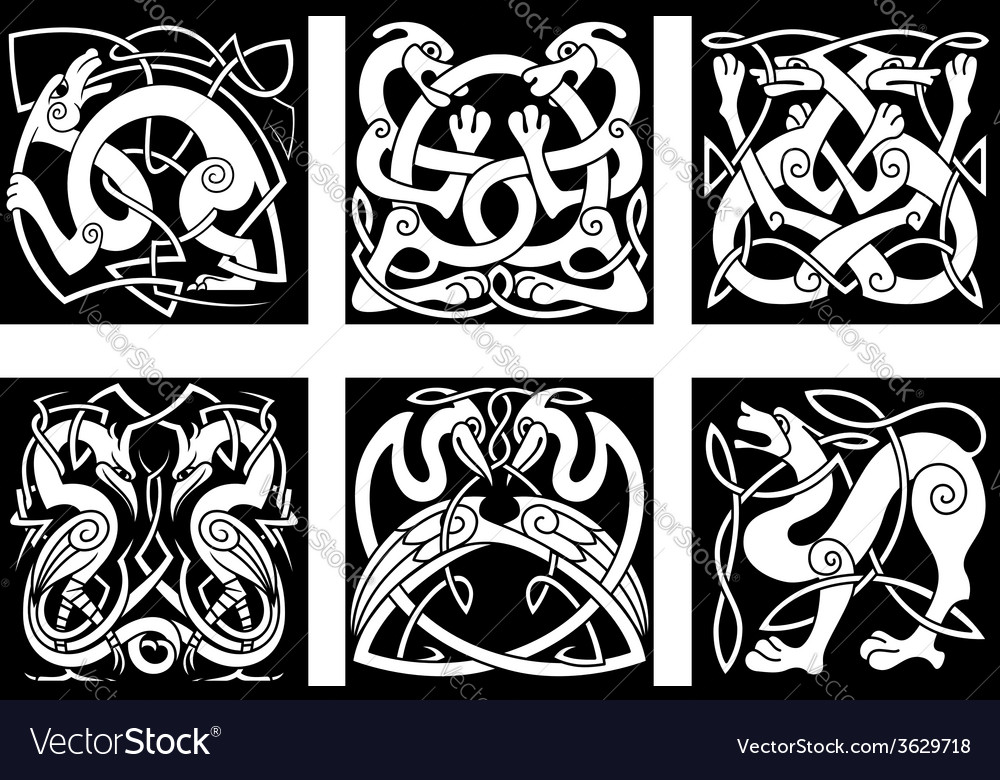 Animal and birds in celtic style vector image