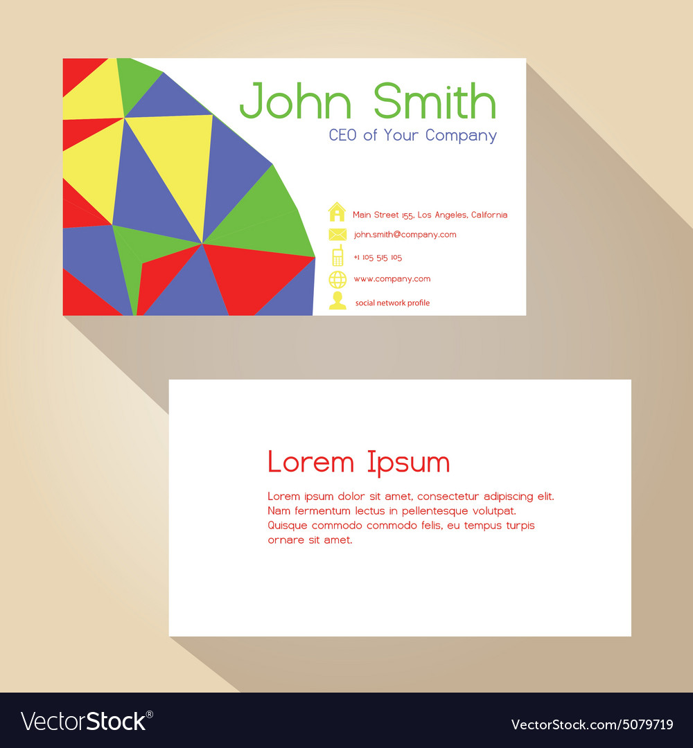 Color funky triangles simple business card design Vector Image