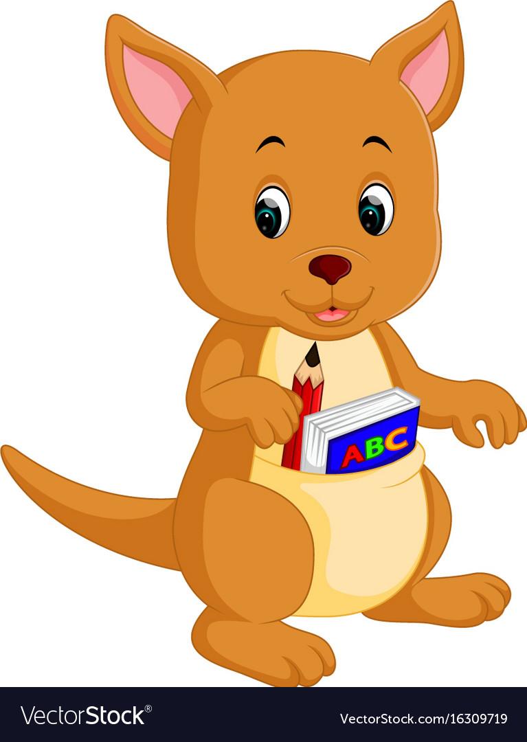 Cute kangaroo cartoon vector image