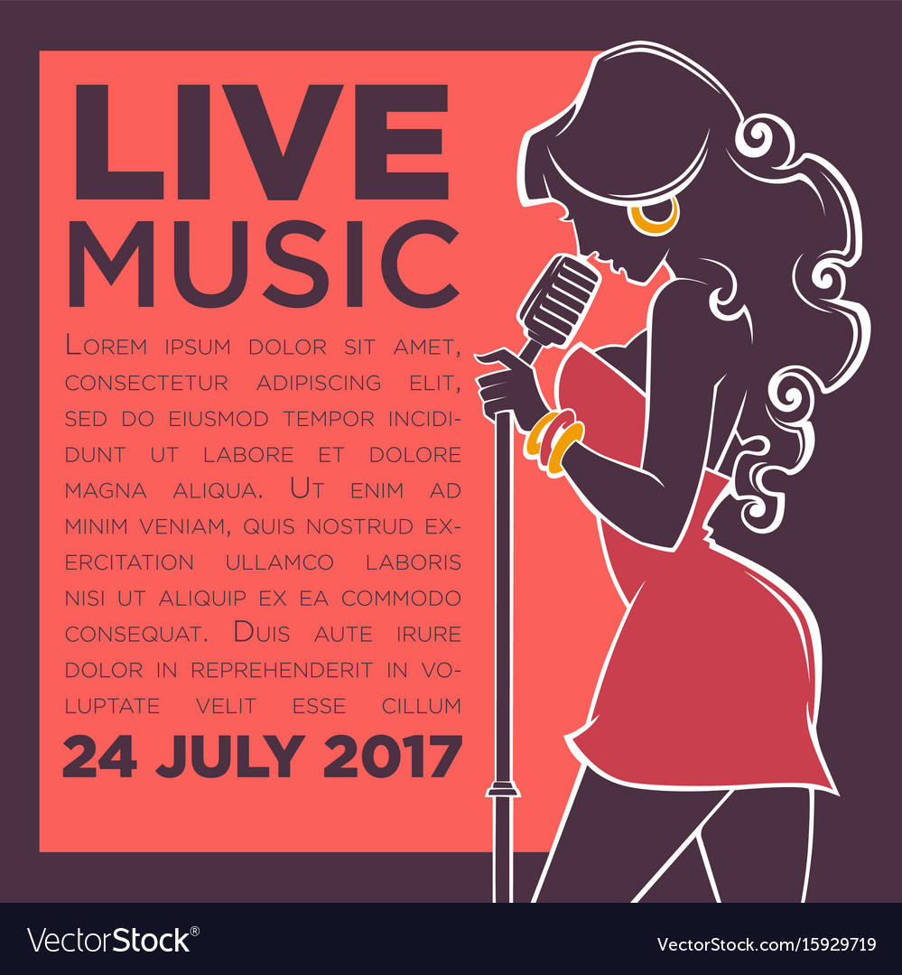 Live music show image of woman singer vector image
