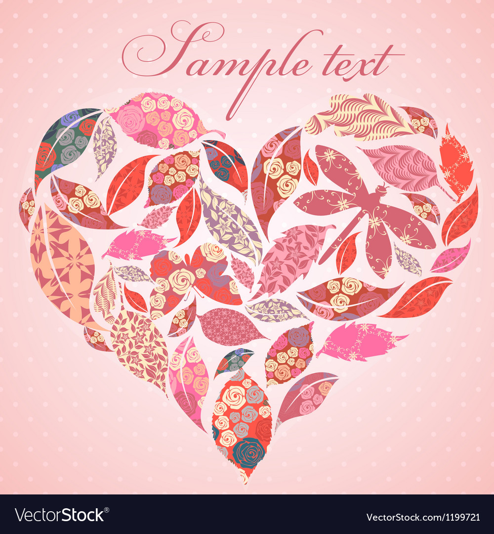 Valentine heart of patch leaves vector image