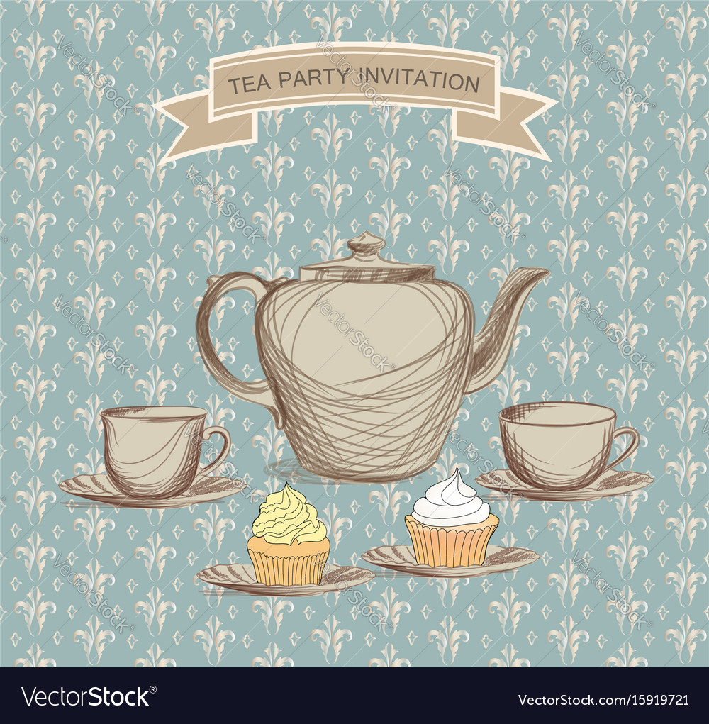 tea cup kettle retro card tea time vintage royalty free vector image vectorstock. Black Bedroom Furniture Sets. Home Design Ideas