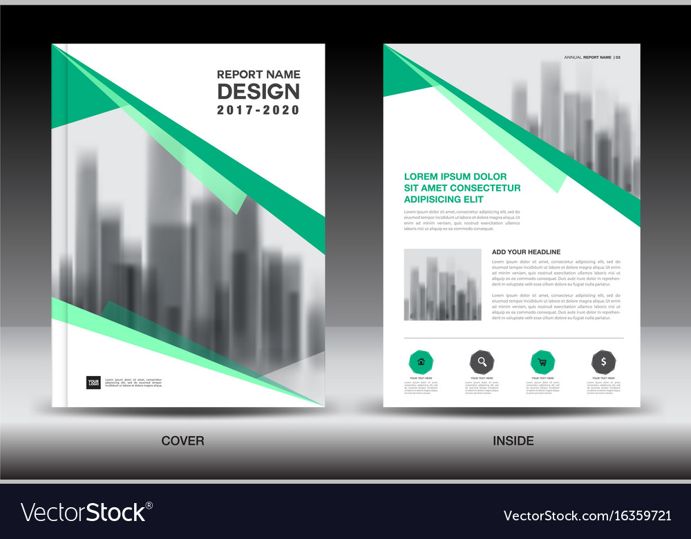 Annual Report Brochure Flyer Template Green Cover Vector Image