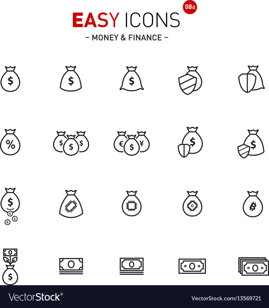 Easy icons 08a money vector image