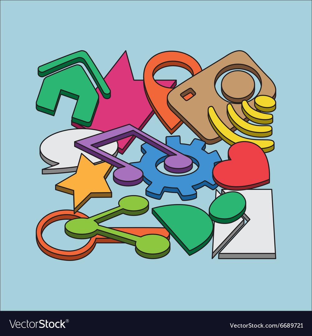 Hand drawn set of social media vector image