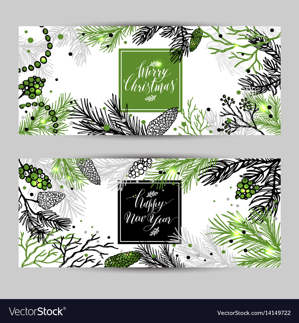 Merry christmas greeting banners with new years vector image
