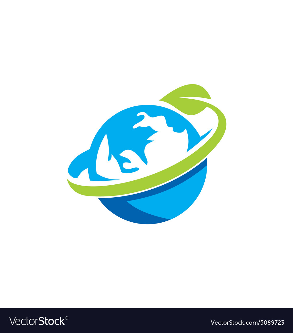 Globe earth green leaf logo vector image