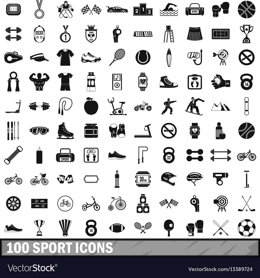 100 sport icons set in simple style vector image